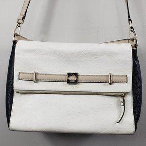 Kate Spade White Pebbled Black Side Crossbody Bag